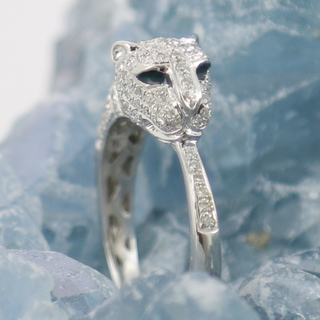 Bague jaguar diamants or blanc