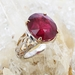 Bague tourmaline rouge et diamants or blanc rognée_01