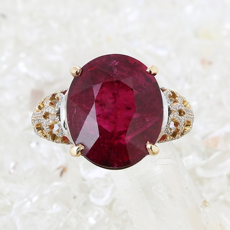 Bague tourmaline rouge et diamants or blanc